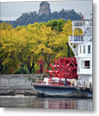Paddlewheeler At Winona Mn Mississippi River Metal Print by Kari Yearous