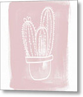 Pink And White Cactus- Art By Linda Woods Metal Print by Linda Woods