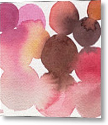 Pink Brown Coral Abstract Watercolor Metal Print by Beverly Brown