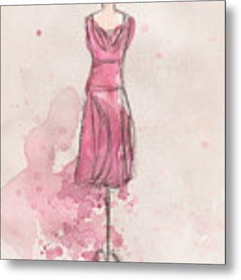 Pink Tulip Dress Metal Print