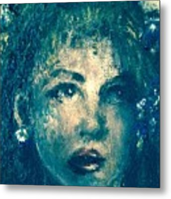 Portrait In Blue Metal Print by Laurie Lundquist