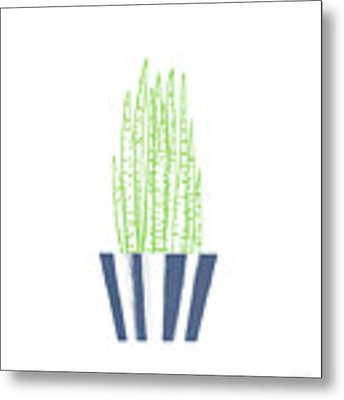Potted Succulent 3- Art By Linda Woods Metal Print by Linda Woods