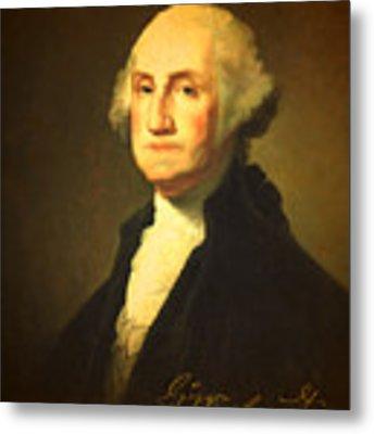 President George Washington Portrait And Signature Metal Print