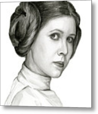 Princess Leia Watercolor Portrait Metal Print by Olga Shvartsur
