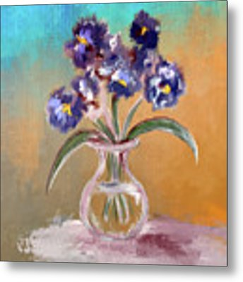 Purple And Blue Pansies In Glass Vase Metal Print by Lois Bryan