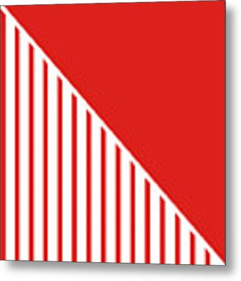 Red And White Triangles Metal Print