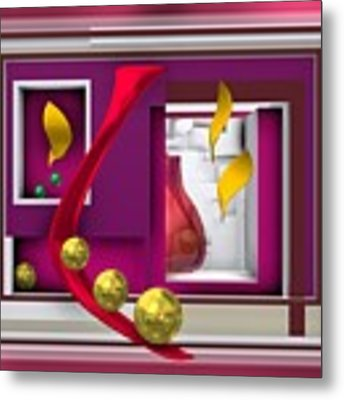 Red Glass In The Room With White Light Metal Print by Alberto RuiZ