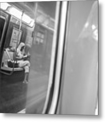 Reflections In New York City Subway Metal Print by Ranjay Mitra