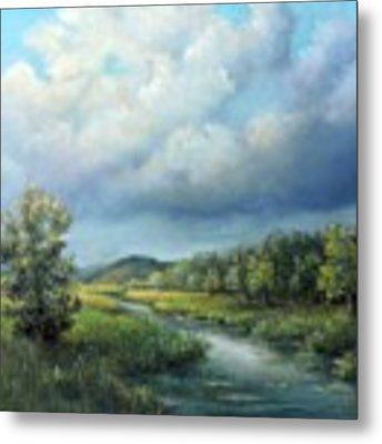 River Landscape Spring After The Rain Metal Print by Katalin Luczay