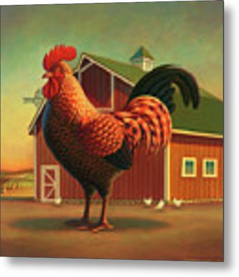Rooster And The Barn Metal Print