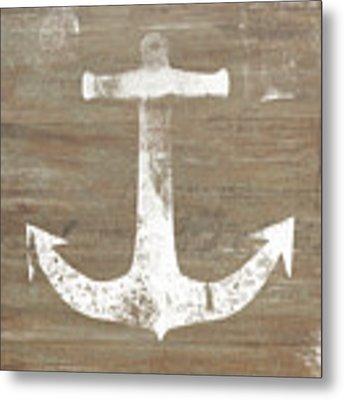 Rustic White Anchor- Art By Linda Woods Metal Print by Linda Woods