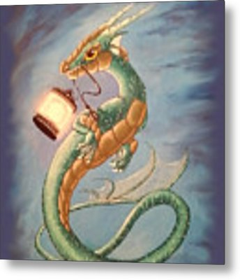 Sea Dragon And Lantern Metal Print by Mary Hoy