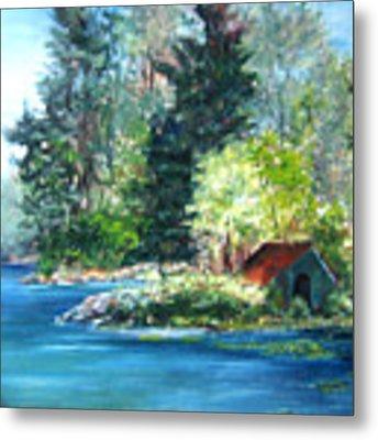 Secluded Boathouse-millsite Lake  Metal Print by Jan Byington