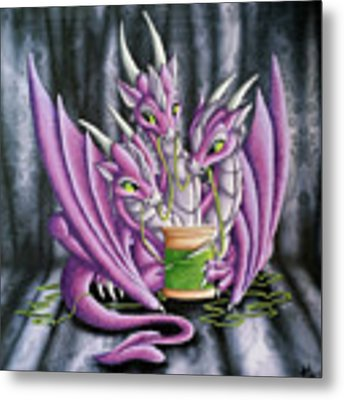 Sewing Dragons Metal Print by Mary Hoy