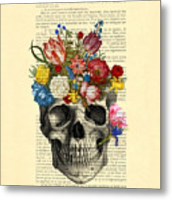 Skull With Flowers Vintage Illustration Metal Print by Madame Memento