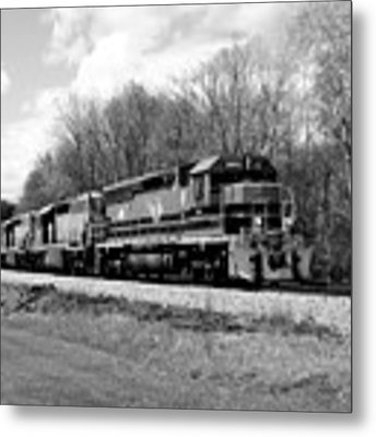 Sprintime Train In Black And White Metal Print by Rick Morgan