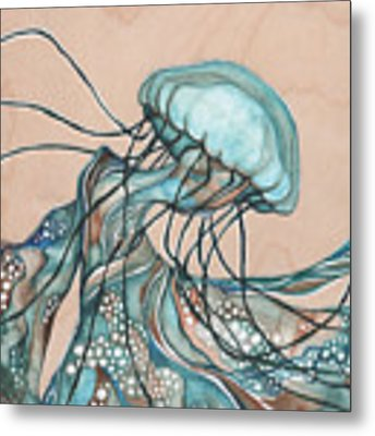 Square Lucid Jellyfish On Wood Metal Print by Tamara Phillips