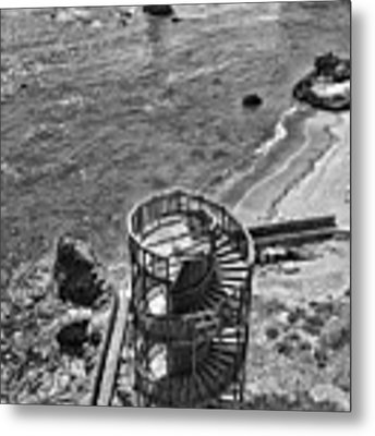 Stairs To Nowhere Pismo Beach Black And White Metal Print by Priya Ghose