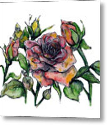 Stylized Roses Metal Print by Lauren Heller