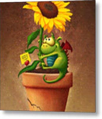 Sunflower And Dragon Metal Print by Tooshtoosh
