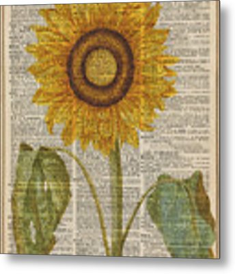 Sunflower Over Dictionary Page Metal Print by Anna W