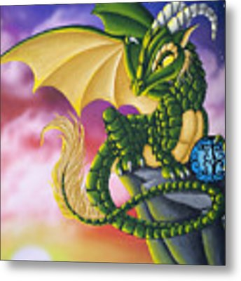 Sunset Dragon Metal Print by Mary Hoy