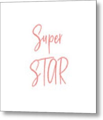 Super Star Pink On White- Art By Linda Woods Metal Print by Linda Woods