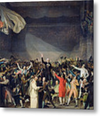 The Tennis Court Oath Metal Print by Jacques Louis David