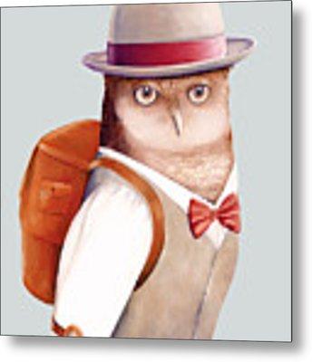 Travelling Owl Metal Print by Animal Crew