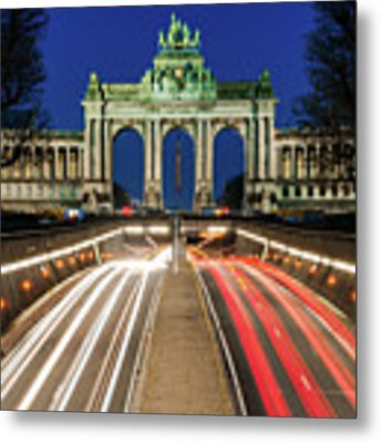 Arcade Du Ciquantenaire At Blue Hour Metal Print by Barry O Carroll