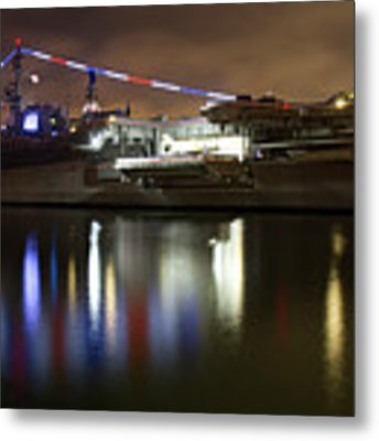 Uss Midway At Night Metal Print by Nathan Rupert