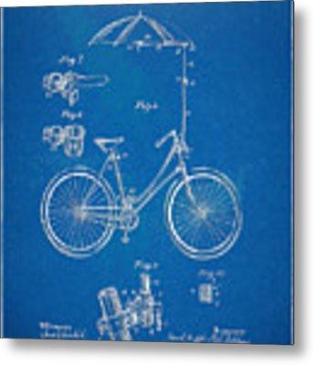 Vintage Bicycle Parasol Patent Artwork 1896 Metal Print