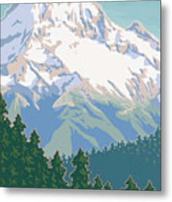 Vintage Mount Hood Travel Poster Metal Print