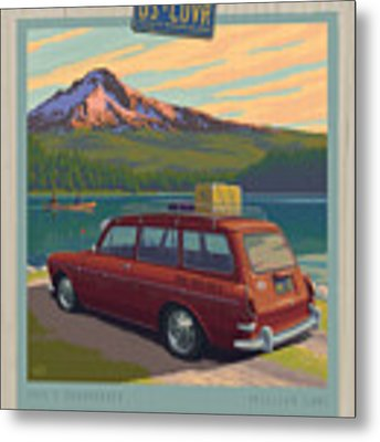 Vintage Squareback At Trillium Lake Metal Print