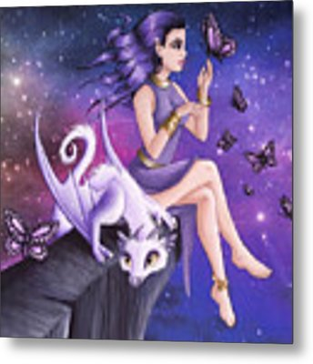 Violet Night Fantasy Metal Print by Mary Hoy