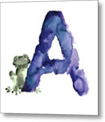 Watercolor Alphabet A Frog Painting Metal Print