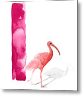 Watercolor Alphabet Pink Ibis Poster Metal Print by Joanna Szmerdt