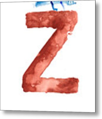 Watercolor Alphabet Z Letter Abstract Crocodile Large Poster Metal Print