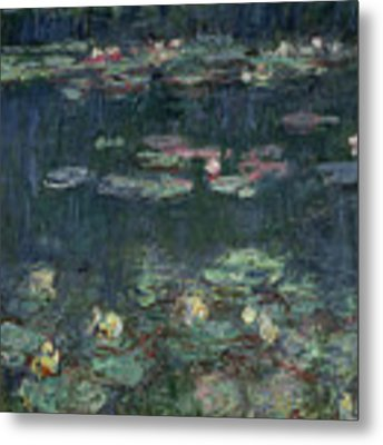 Waterlilies Green Reflections Metal Print by Claude Monet