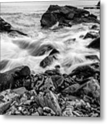 Waves Against A Rocky Shore In Bw Metal Print by Doug Camara