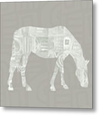 White Horse 2- Art By Linda Woods Metal Print