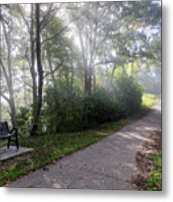 Winona Minnesota Foggy Path With Bench Photograph Metal Print by Kari Yearous