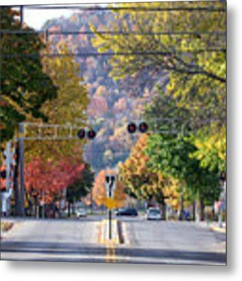 Winona Mn Photo Railroad Crossing In Fall Metal Print by Kari Yearous