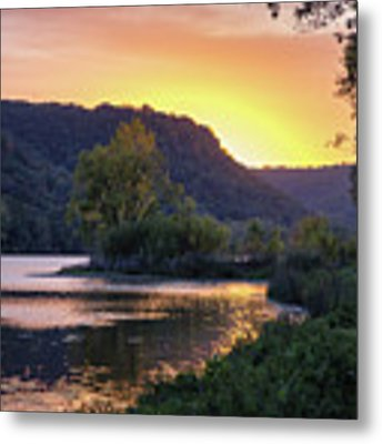 Winona Mn Sunset Peninsula Yearous Metal Print by Kari Yearous