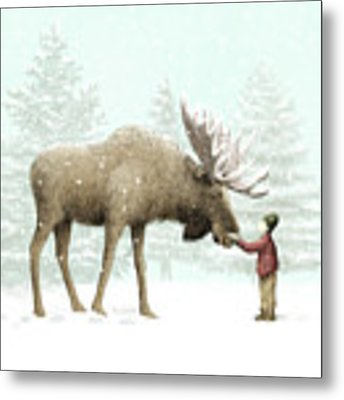 Winter Moose Metal Print by Eric Fan
