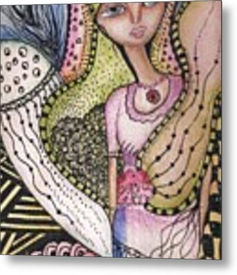 Woman With Large Eyes Metal Print by Prerna Poojara