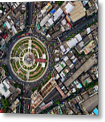 Wongwian Yai Roundabout Surrounded By Buildings, Bangkok Metal Print by Pradeep Raja PRINTS