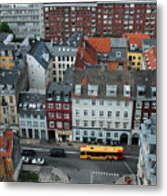 Yellow Bus In Copenhagen Denmark Metal Print by Mary Lee Dereske