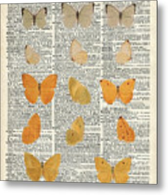 Yellow Butterflies Over Dictionary Book Page Metal Print