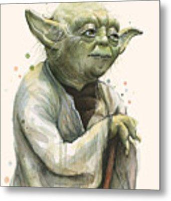 Yoda Portrait Metal Print by Olga Shvartsur